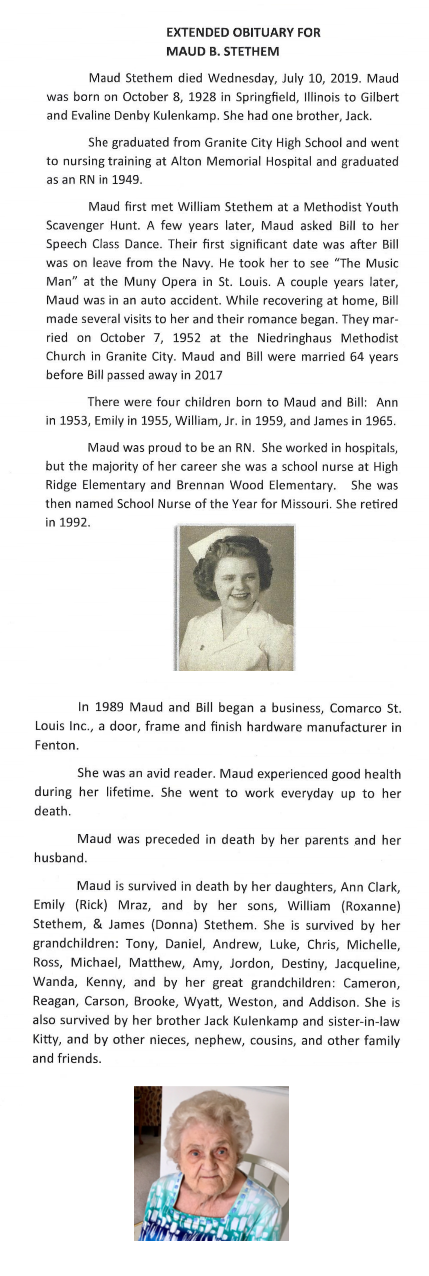 In Loving Memory of Maud Stethem